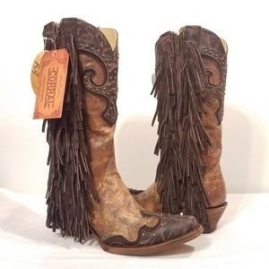 CORRAL COWHIDE LEATHER WESTERN FRINGE DRESS BOOTS